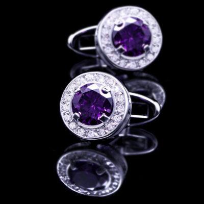 Round Purple Crystal Cufflinks For Men from Gentlemansguru.com