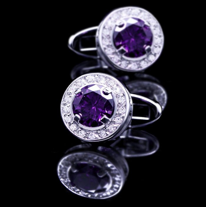 Round Purple Crystal Cufflinks For Men from Gentlemansguru.com