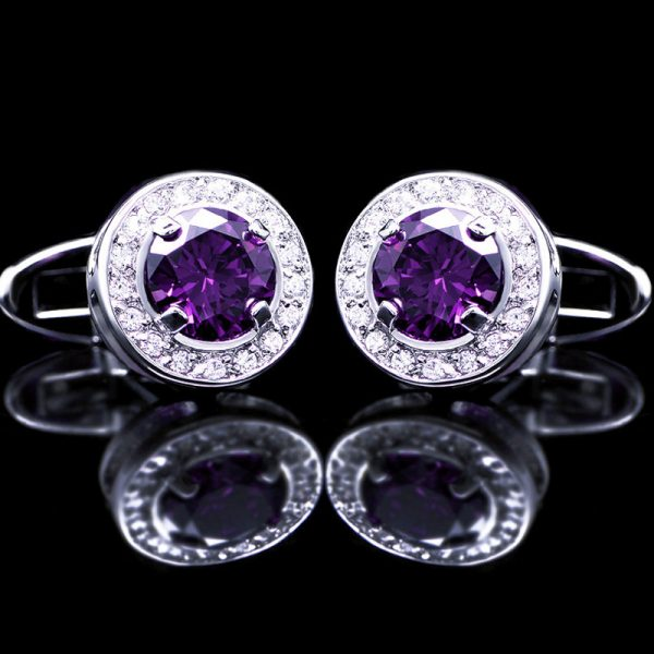 Round Purple Cufflinks MEns from Gentlemansguru.com