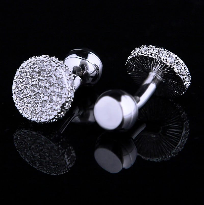 Round Silver Crystal Cufflinks Set For Men from Gentlemansguru.com