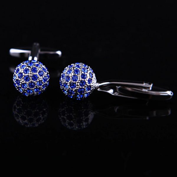 Royal Blue Crystal Ball Cufflinks Sets from Gentlemansguru.com