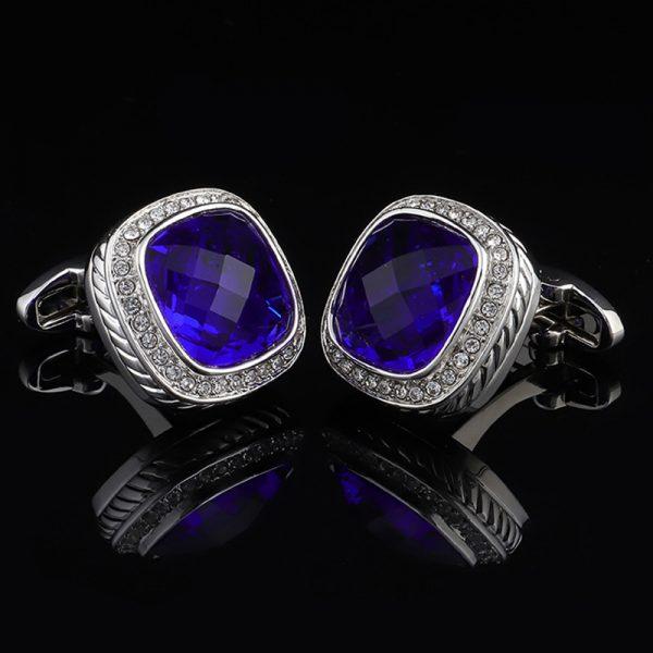 Royal Blue Crystal Cufflinks Luxury Cufflinks-mont blan-tiffany- Dark Blue Cufflinks from Gentlemansguru.com