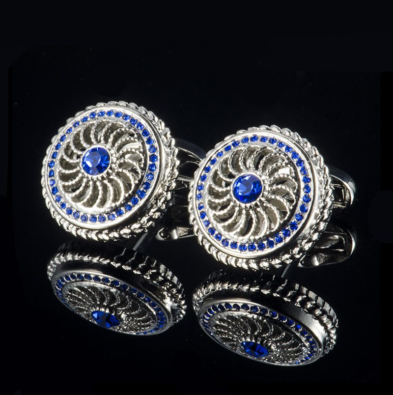 Royal Blue Crystal Cufflinks Wth Silver Plating in Vintage Style from Gentlemansguru.com