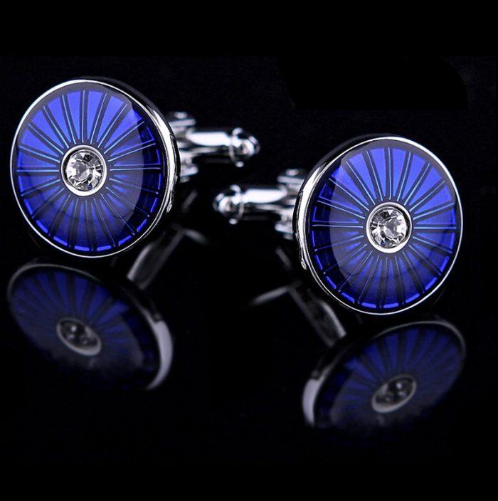 Royal Blue Round Cufflinks Mens Wedding Tuxedo from Gentlemansguru.com