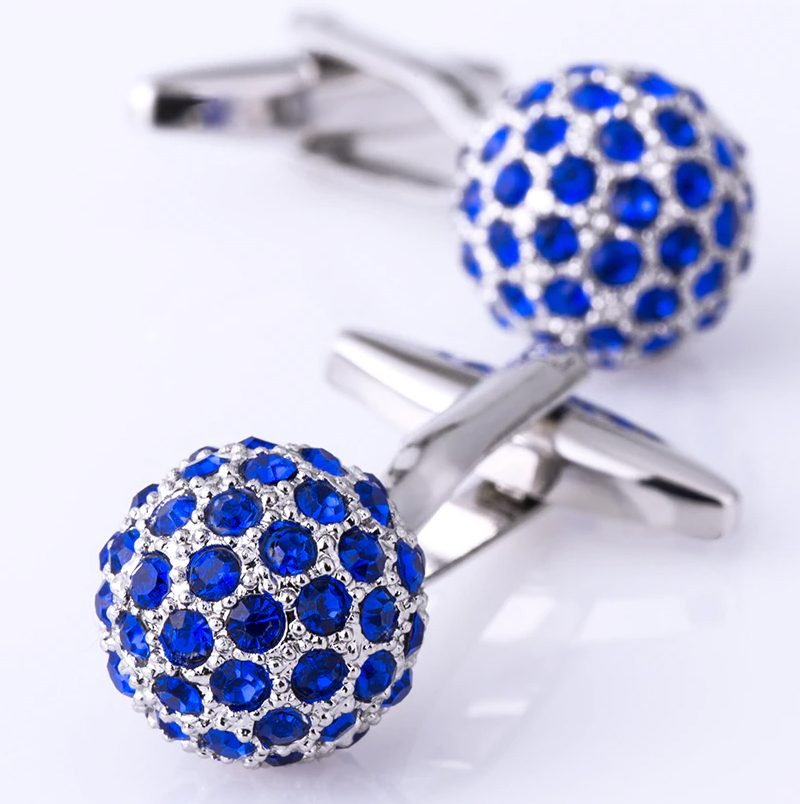 Royal Blue and Silver Crystal Ball Wedding Cufflinks from Gentlemansguru.com