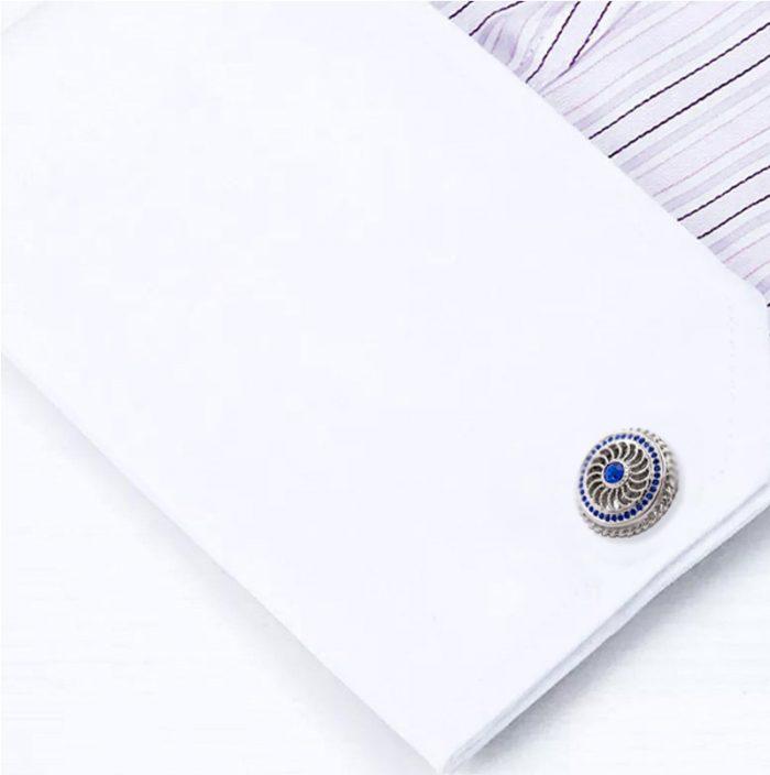 Sapphire Blue And Silver Cufflinks Button Cufflinks Hugo-Boss Cufflinks from Gentlemansguru.com