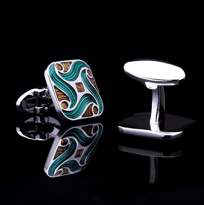 Silver And Green Enamel Cufflinks from Gentlemansguru.com