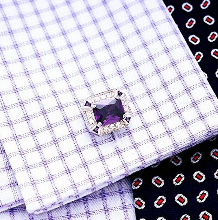 Silver And Purple Cufflinks from Gentlemansguru.com