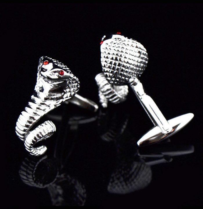Silver Cobra Snake Cufflinks With Red Eyes from-Gentlemansguru.com
