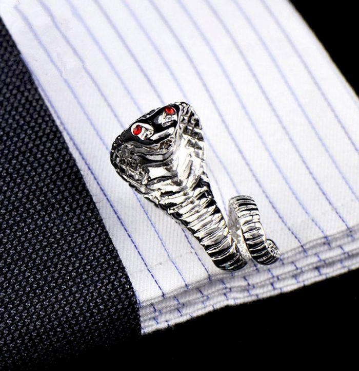Silver Cobra Snake Cufflinks from-Gentlemansguru.com