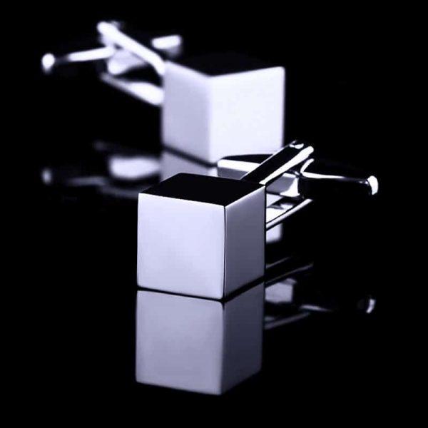 Silver Cube Cufflinks Set For Men from Gentlemansguru.com