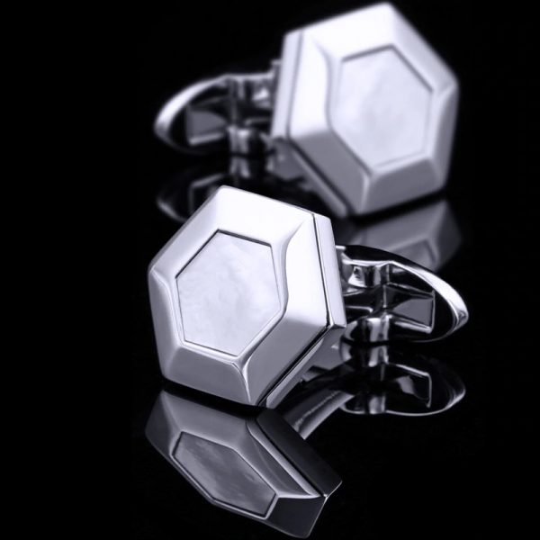 Silver Hexagon Cufflinks from Gentlemansguru.com