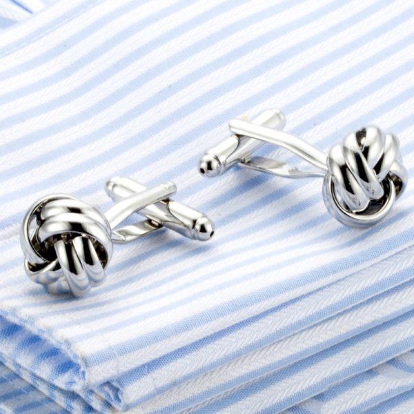 Silver Knot Cufflinks Lanvin knot Cufflinks Set from Gentlemansguru.com