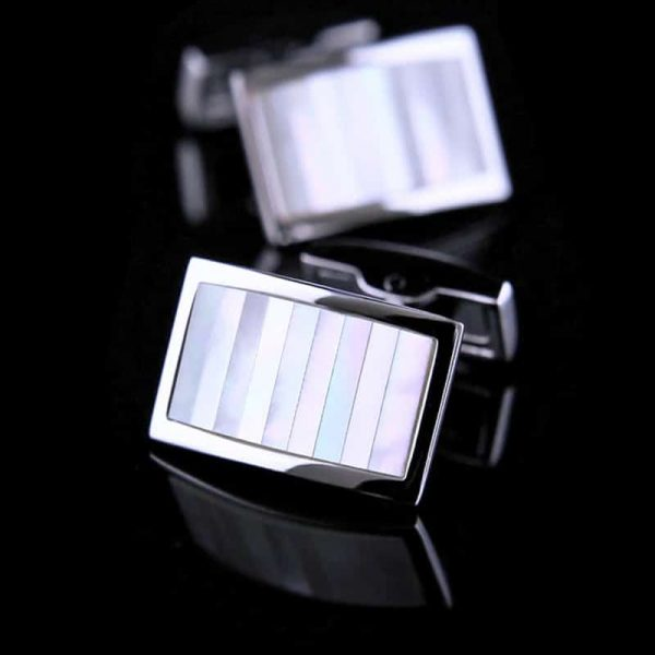 Silver Mother Of Pearl Cufflinks Set from Gentlemansguru.com