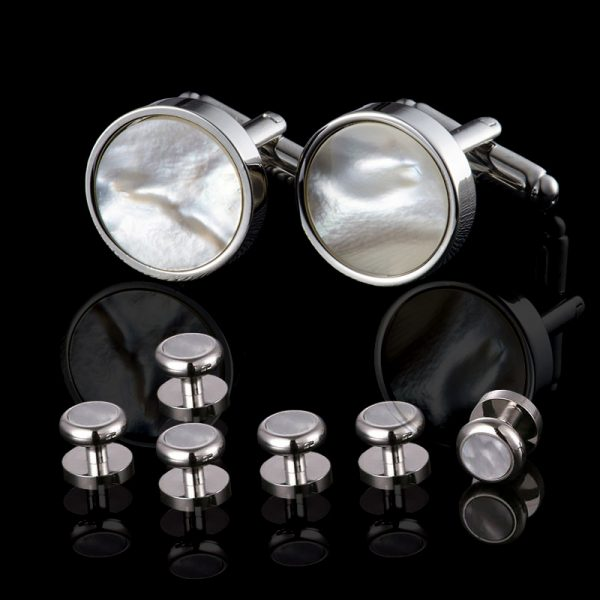 Silver Mother Of Pearl Cufflinks and Studs Set from Gentlemansguru.com