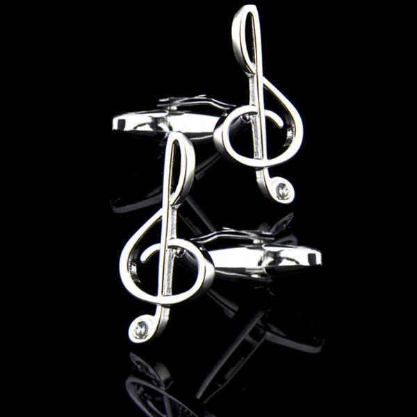 Silver Music Note Cufflinks from-Gentlemansguru.com