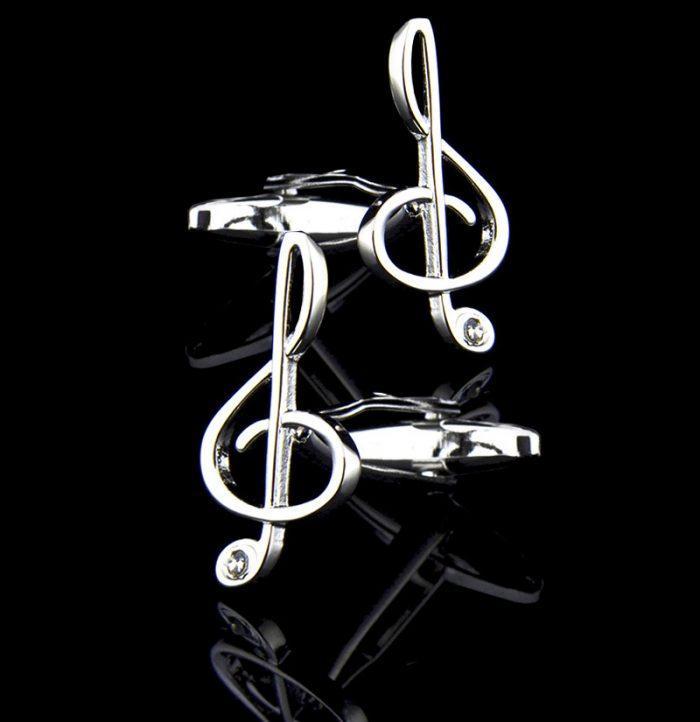 Silver Music Note Cufflinks from-Gentlemansguru.com