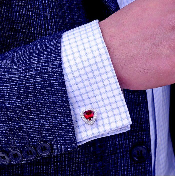 Silver Red Cufflinks For Wedding-Groom Tuxedo Mens Red Crystal Cufflinks from Gentlemansguru.com
