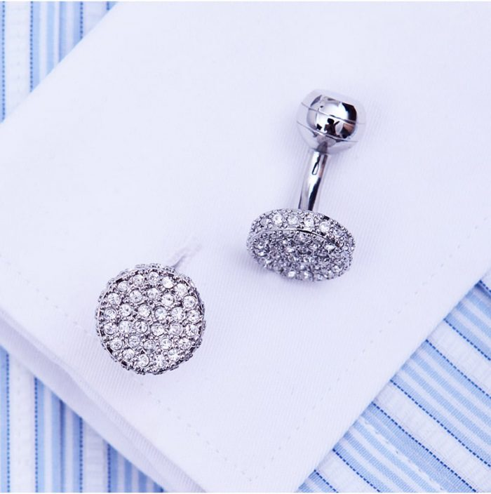 Silver Round Button Shirt Cufflinks Set from Gentlemansguru.com