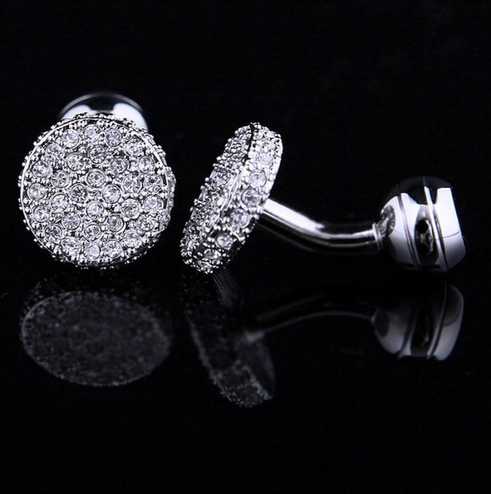 Silver Round Crystal Cufflinks from Gentlemansguru.com