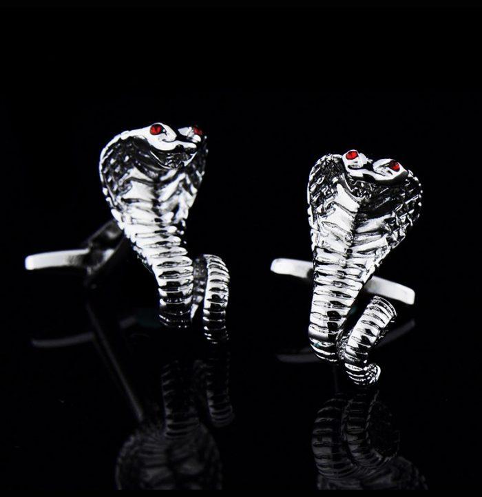 Silver Snake Cufflinks Cobra Design from-Gentlemansguru.com