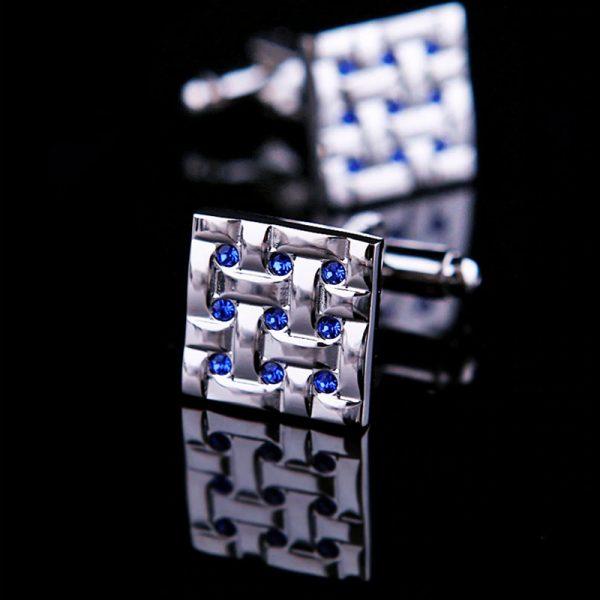 Silver Square Blue Crystal Cufflinks from GentlemansGuru.com