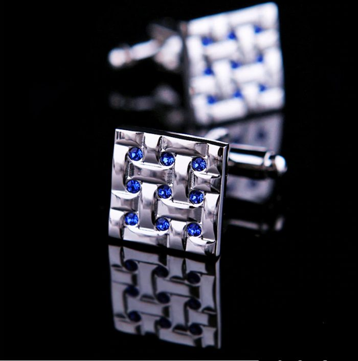 Silver Square Blue Crystal Cufflinks from GentlemansGuru.com