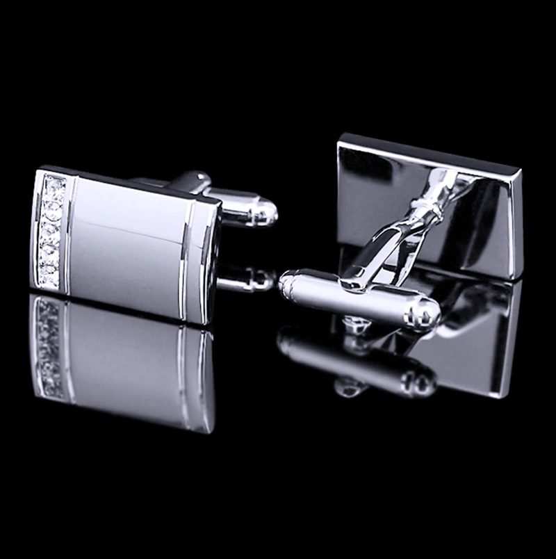 Silver Wedding Cufflinks With Crystal from Gentlemansguru.com