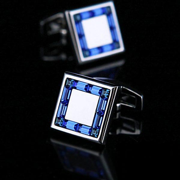 Silver and Blue Cufflinks Set Gromms Wedding from Gentlemansguru.com