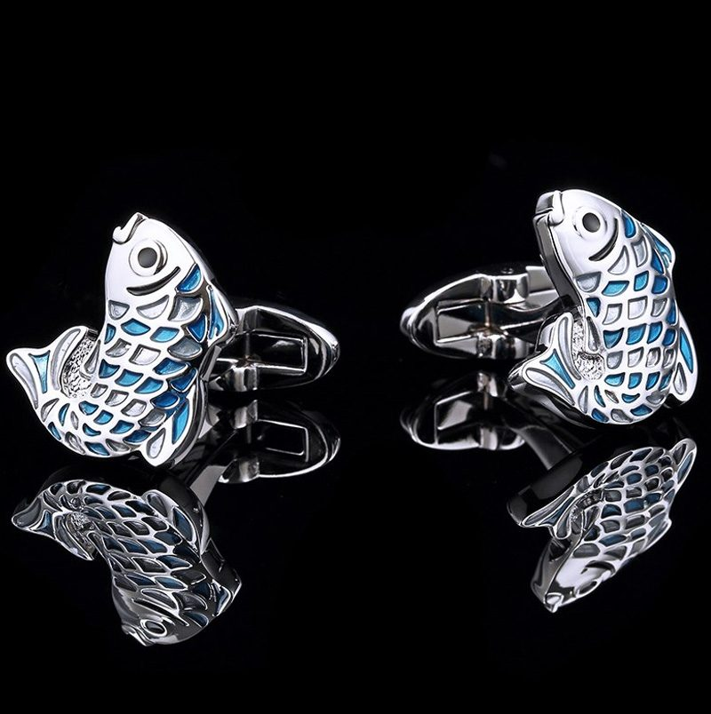 Silver and Blue fish Cufflinks from Gentlemansguru.com