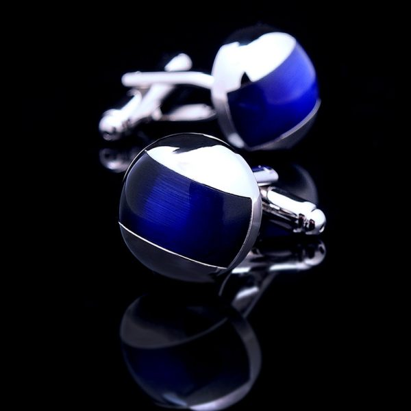 Silver and Dark Navy Blue Cufflinks For Men from Gentlemansguru.com