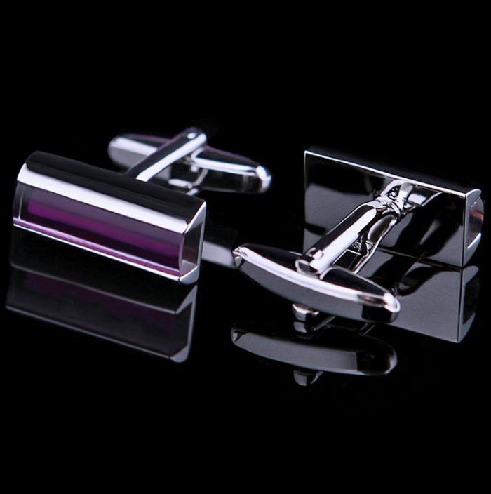 Silver and Purple Luxury Cufflinks from Gentlemansguru.com