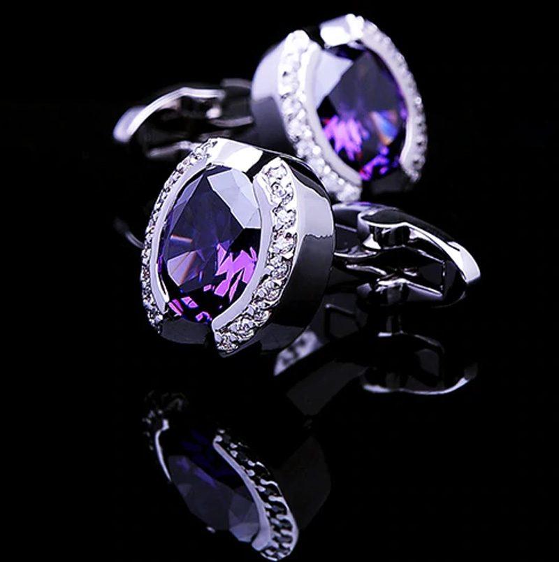 Silver and Purple Stone Cufflinks , Luxury Cufflinks,
