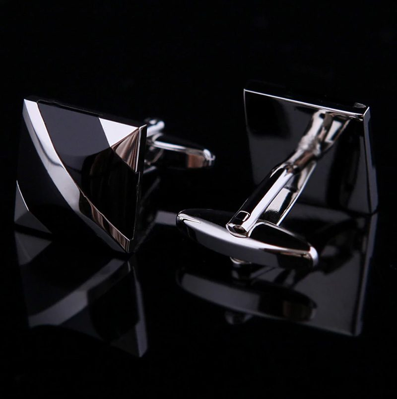 Square Modern Black and Silver Cufflinks Sets from Gentlemansguru.com