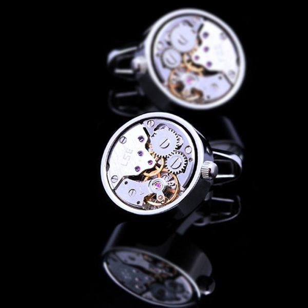 Stainless Steel Silver Mechanical Cufflinks from Gentlemansguru.com
