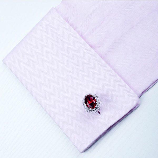 Sterling Silver PLated Ruby Cufflinks Set from Gentlemansguru.com