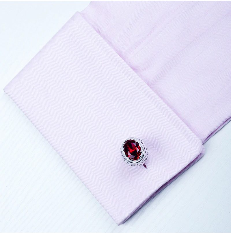 Sterling Silver PLated Ruby Cufflinks Set from Gentlemansguru.com