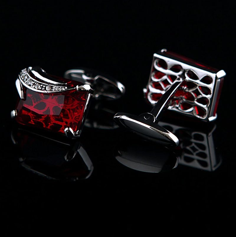 Sterling Silver Red Gemstone Cufflinks Set from Gentlemansguru.com