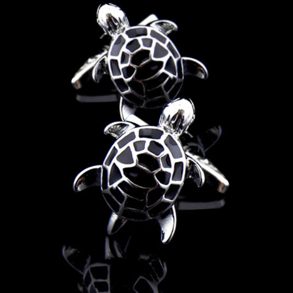Turtle Cufflinks With Black Enamel And Silver Plating from-Gentlemansguru.com