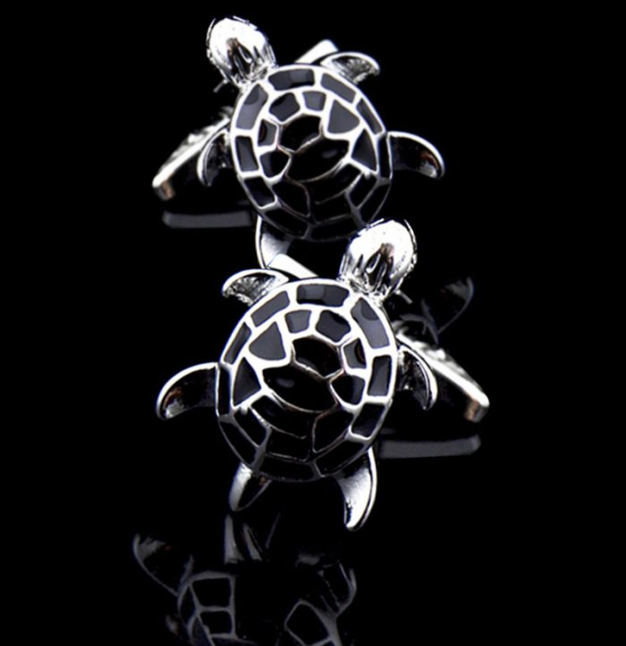 Turtle Cufflinks With Black Enamel And Silver Plating from-Gentlemansguru.com