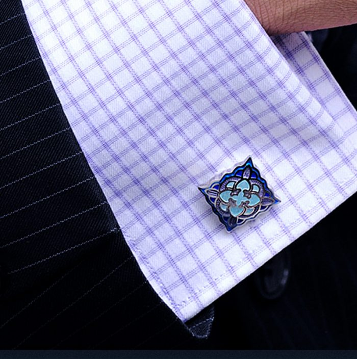 Vintage Pale Blue Cufflinks Set from Gentlemansgur.com