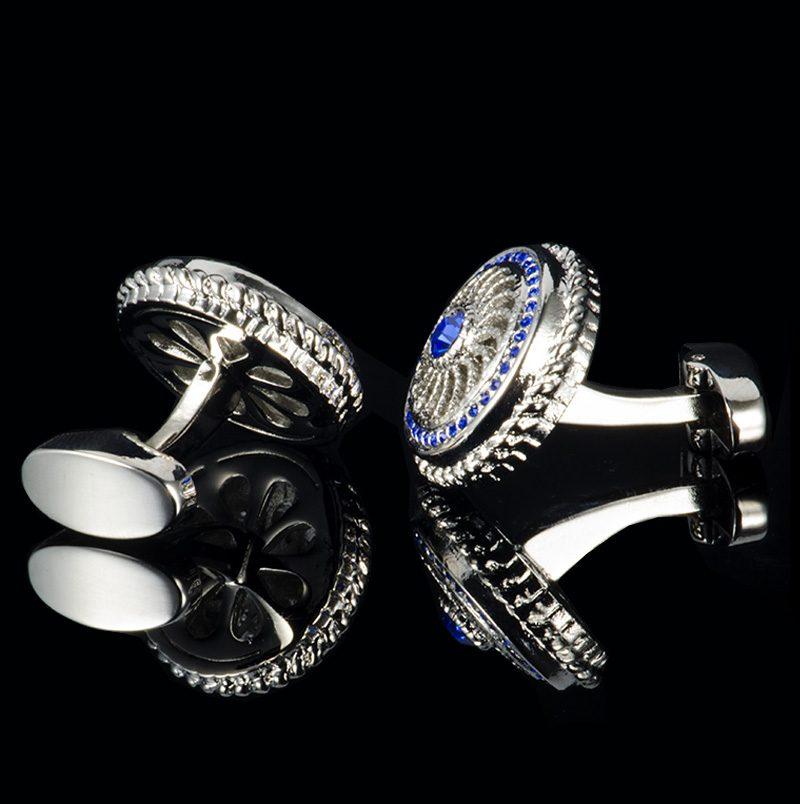 Vintage Royal Blue and Silver Cufflinks For Men from Gentlemansguru.com