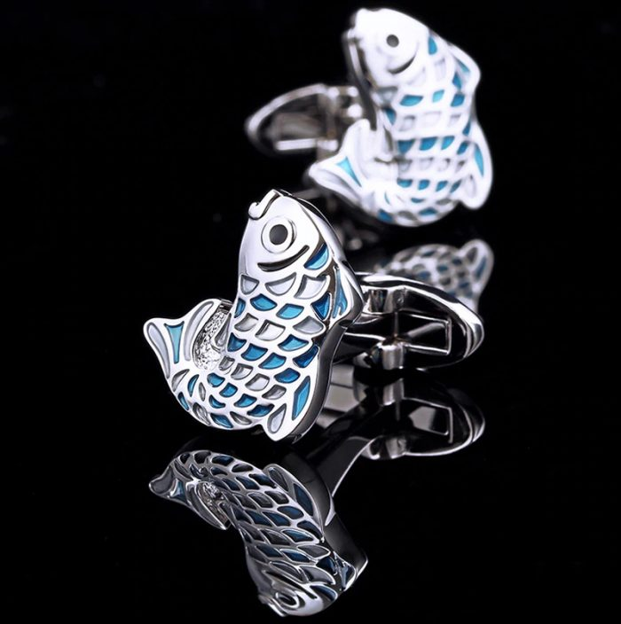 Vintage Silver Fish Cufflinks from Gentlemansguru.com