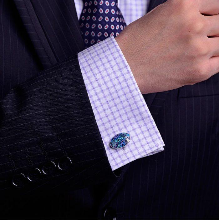 Vintage Silver and Light Blue Enamel Cufflinks For Men from Gentlemansguru.com