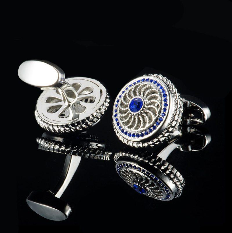 Vintage Style Silver and Royal Blue Crystal Cufflinks from Gentlemansguru.com