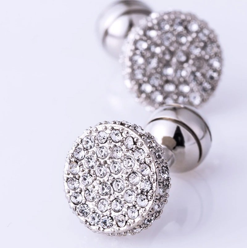 Wedding Crystal Round Silver Cufflinks from Gentlemansguru.com