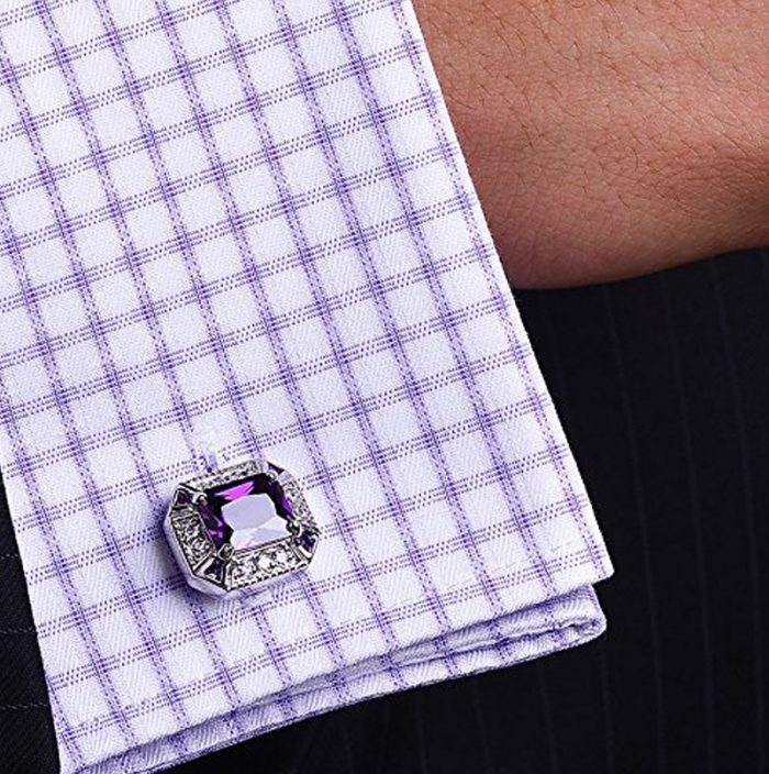 Wedding Purple and Silver Cufflinks from Gentlemansguru.com