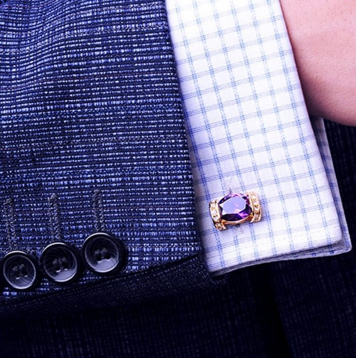 Wedding Purple Cufflinks 18K Plated from Gentlemansguru.com
