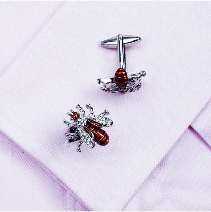 Australia Button Shirt Bee Cufflinks With Enamel Crystal from Gentlemansguru.com