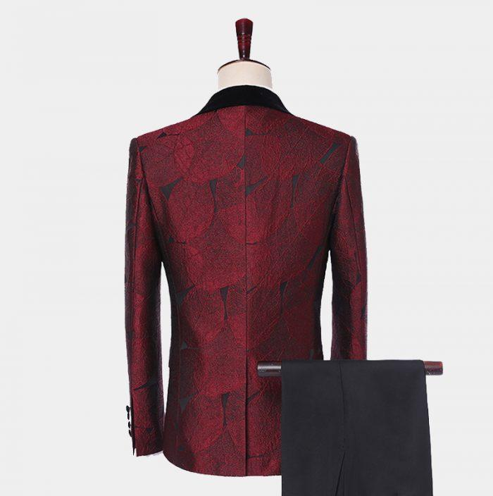 Black And Burgundy Tuxedo Suit WIth Black Shawl Lapel from Gentlemansguru.com